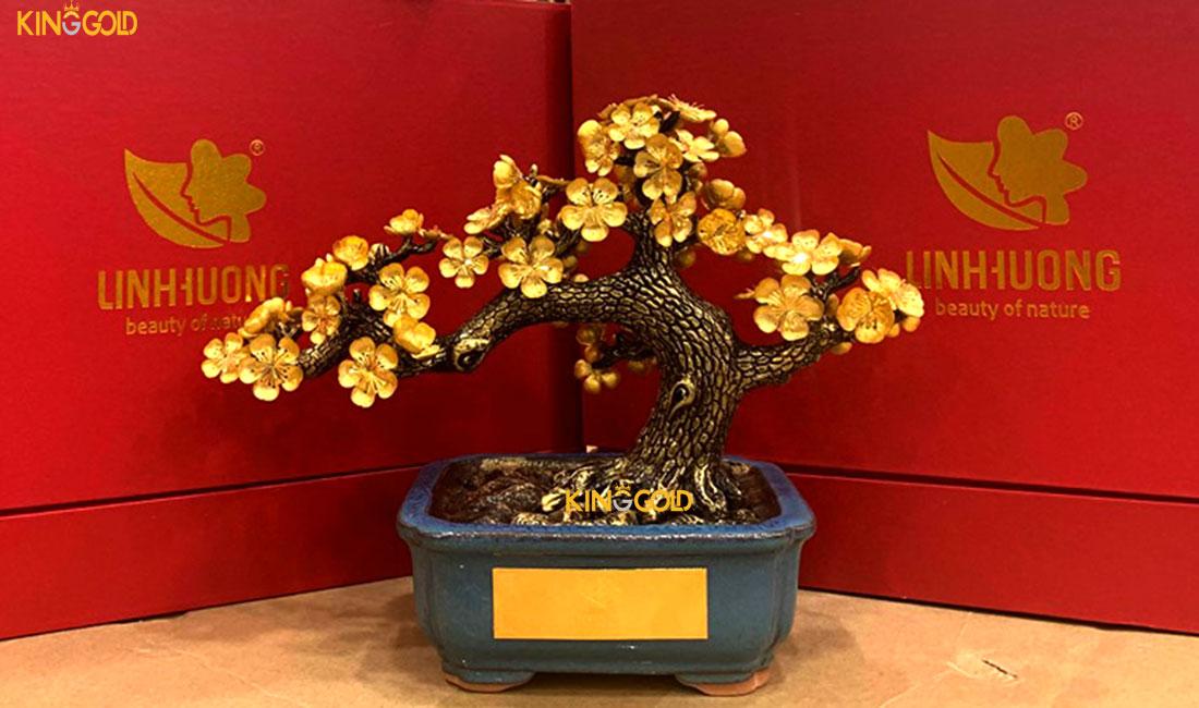 160 chậu mai vàng 24k do Mỹ phẩm Linh hương đặt tặng đối tác