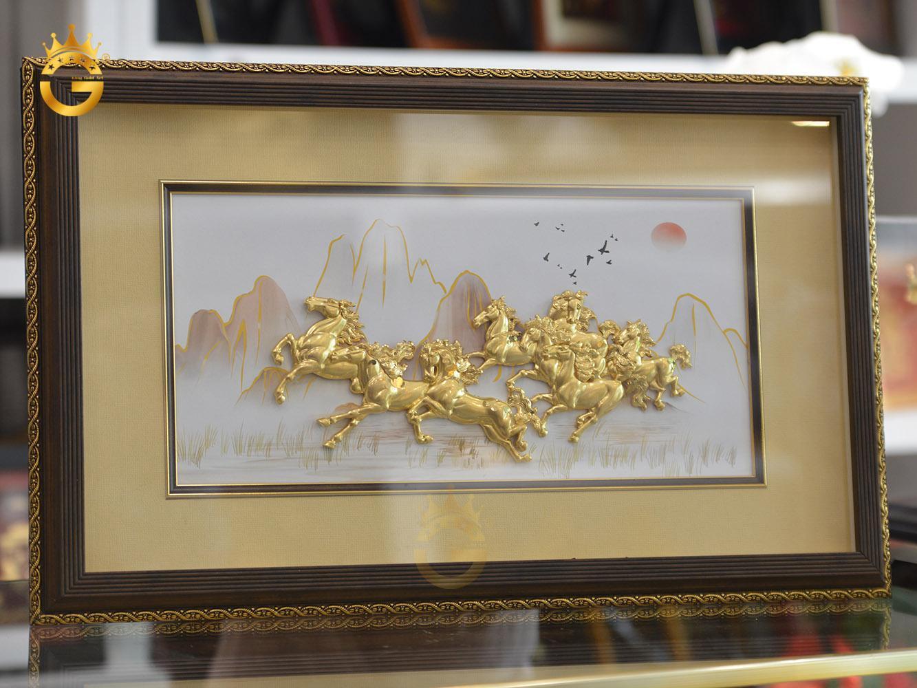 Quà tặng tranh vàng 24k, tranh ngựa dát vàng 24k cao cấp
